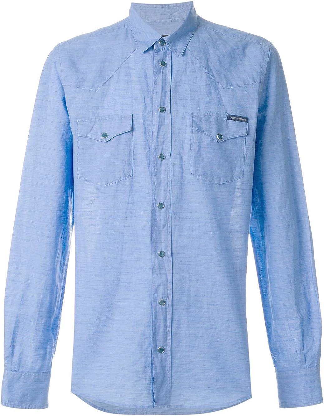 Dolce & Gabbana - Camisa Casual - para Hombre Azul Claro Talla de la Marca 41: Amazon.es: Ropa y accesorios