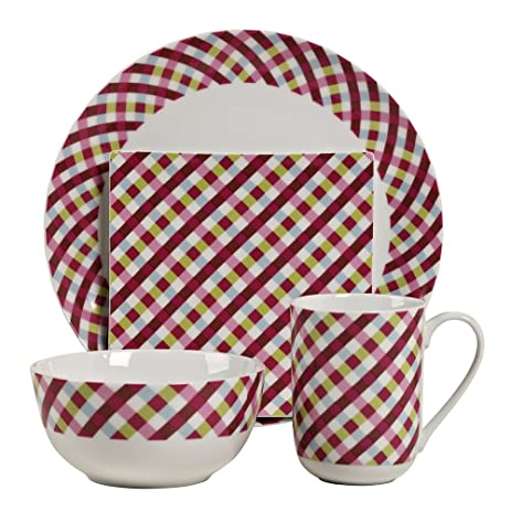 16pc Gingham Durable Porcelain Dinnerware Set  sc 1 st  Amazon.com & Amazon.com | 16pc Gingham Durable Porcelain Dinnerware Set ...