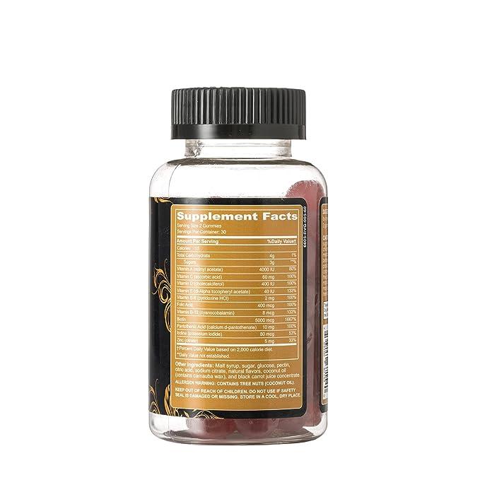 Elongtress gomoso pelo suplemento de la vitamina de la piel y el cabello uñas gominolas - biotina 5000mcg por porción - Vitaminas para el cabello para el ...