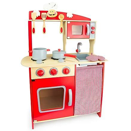Leomark Cucina Dell Chef giocattolo in legno Cucina accessoriata ...