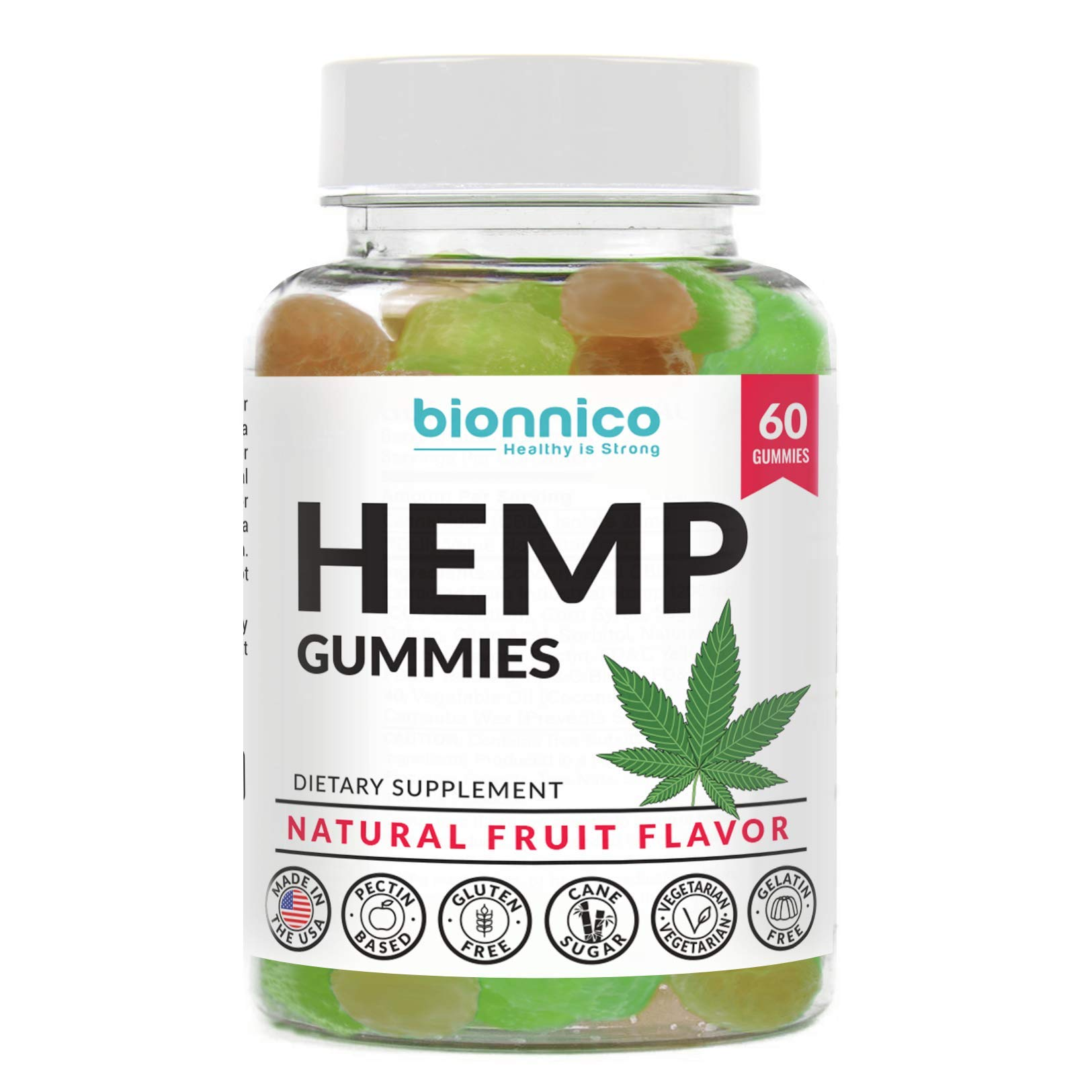 60 Hemp Gummies - Pure Hemp 25mg Oil Extract Infused per Gummy for Pain and Anxiety. Formulated to: Relieve Stress, Joint Inflammation, Depression and Anxiety, Nausea and Sleep Issues.