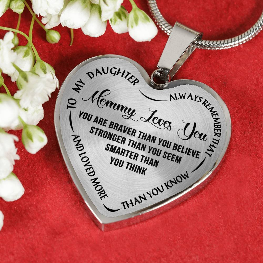 AZ Gifts Mommy Love You Mother Daughter Heart Pendant Necklace Inspirational Quote Gift Ideas For Your Kids You Are Braver Than You Believe