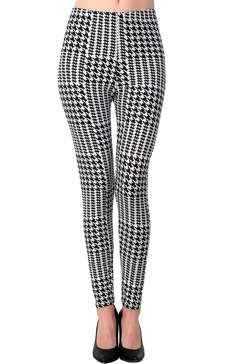 VIV Collection Plus Size Printed Brushed Leggings (Black White Houndstooth)