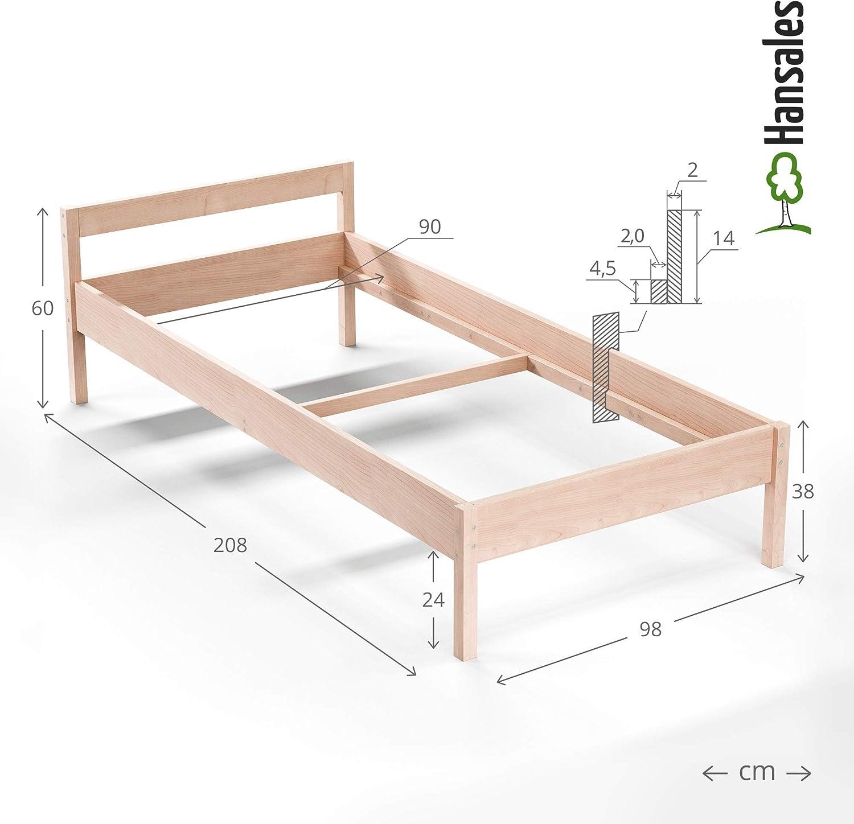 Cama de Madera Maciza 90x200 cm - hasta 300 kg - Bastidor de Cama de Madera de Abedul sin Tratar Natural Robusta con Certificación FSC - Cama ...