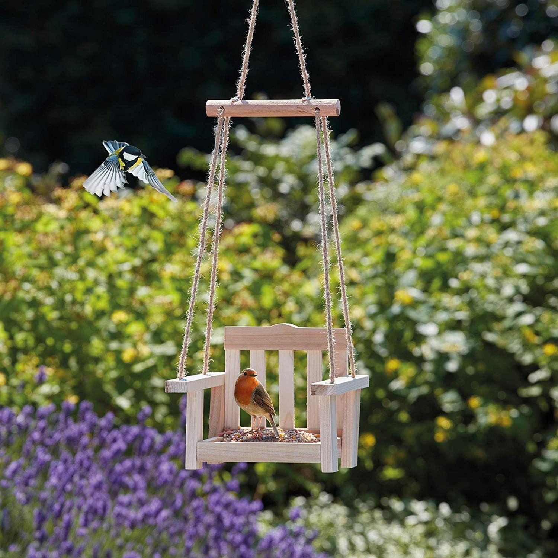 Happy Beaks Bird Feeder Wooden Swing Hanging Wildlife Perch