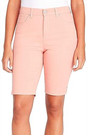 a8ae78c3e037 Gloria Vanderbilt Petite Solid Amanda Bermuda Shorts 6P Coral Dhalia Pink
