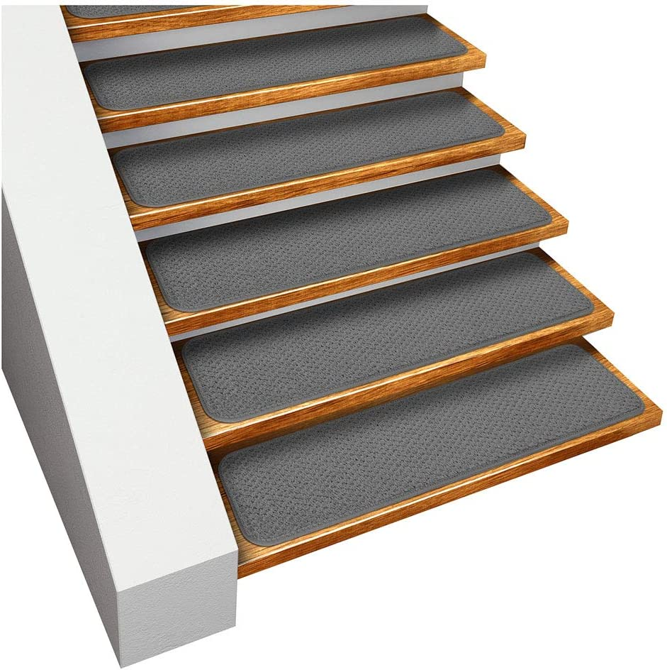 House, Home and More Set of 15 Skid-Resistant Carpet Stair Treads - Gray - 8 Inches X 30 Inches