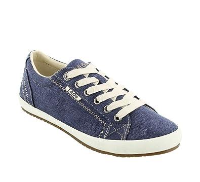 Taos Footwear Women's Star Blue Wash Canvas Sneaker 5 B (M) US