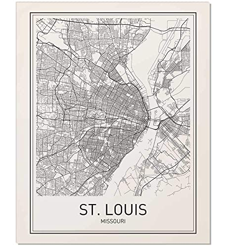 Amazon.com: St. Louis Poster, St. Louis Map, Map of St. Louis, City ...