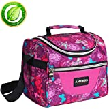 Lunch bag for kids, Insulated Lunch Box for Girls Lunch Tote Bag With Adjustable Shoulder Strap and Front Pocket Perfect for Outdoor School Activities(rose)