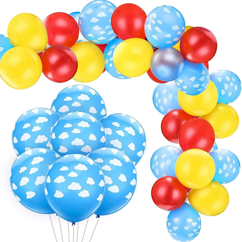 Light Blue White Print 11 Cloud Balloons Set of 6 Latex Balloons