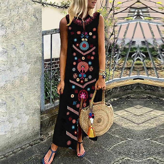 CAOQAO elegancka sukienka balowa z nadrukiem, bez rękawÓw, sukienka ślubna, odświętna, sukienka maxi z dekoltem w kształcie V na obrzeżu, długa sukienka Baggy Kaftan: Odzież