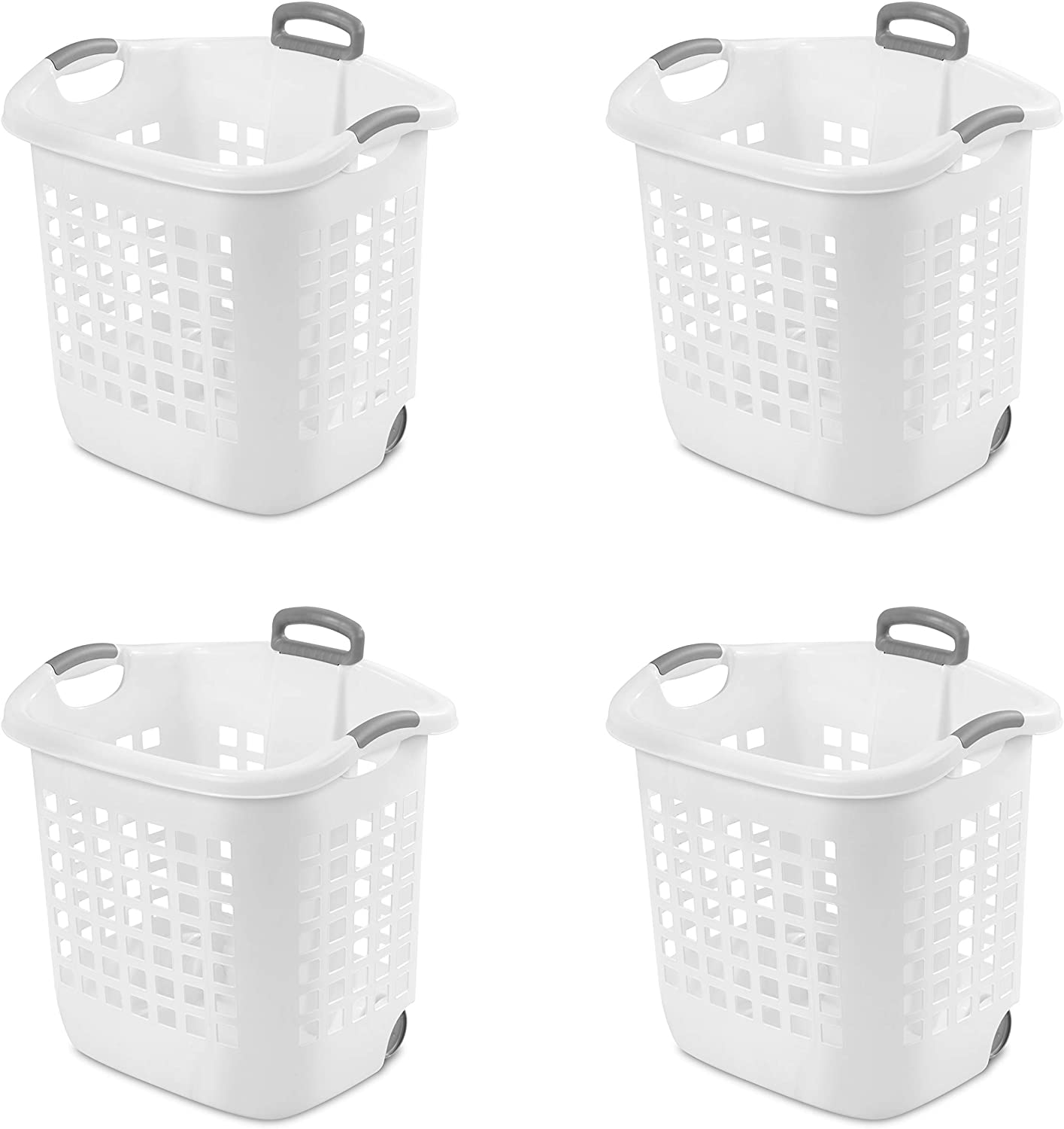 STERILITE 12248004 Laundry Basket, 62 L, White, Pack of 4