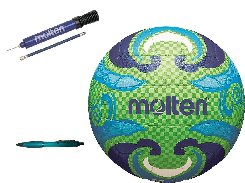 Molten Beachvolleyball V5B1502-L + Molten DHP21-BL Ballpumpe + Kugelschreiber von RS-Sports V5B1502-L / DHP21-BL