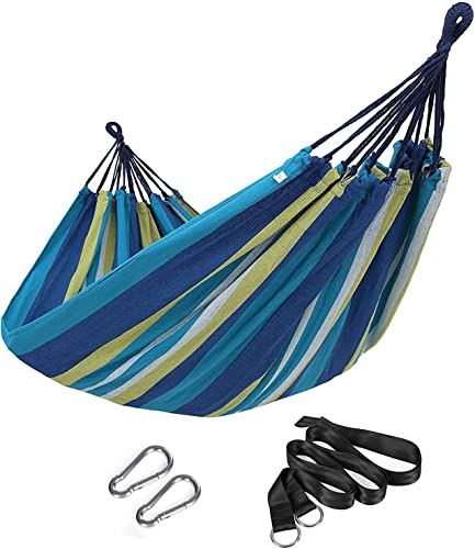 SONGMICS Double Hammock, 98.4 x 59.1 Inches, 660 lb Load Capacity, with Hanging Straps, Carabiners, Carry Bag, for Garden, Outdoor, Camping, Blue and Yellow Stripes UGDC15YU