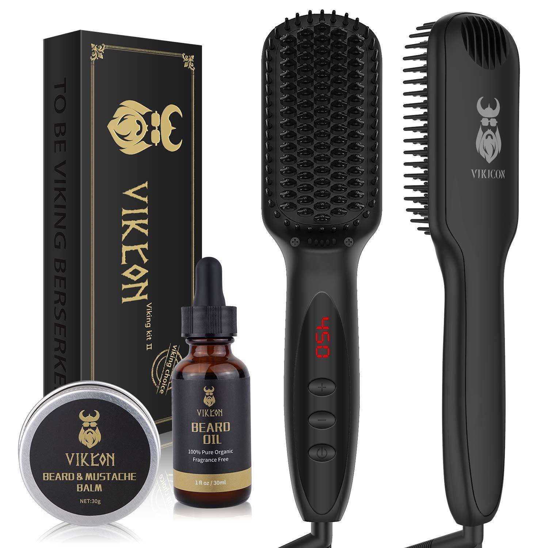 Amazon Com Beard Straightener W Free Beard Oil And Beard Balm For Men Ceramic Ionic Beard Straightening Comb Fast Heated Hair Straightener Brush For Men Women Anti Scald Lcd Display Beauty