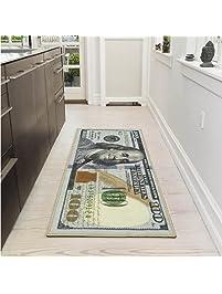bedroom rug. Ottomanson New Rugs One Hundred Dollar  100 Bill Print Benjamin Non Slip Runners Area Amazon com