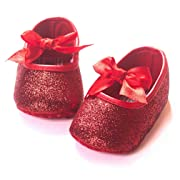 Z-T FUTURE Infant Baby Girls Shoes Cute Bow Diamonds Sparkly Mary Jane Crib Dress Princess Shoes (4.33 inch (0-6 Months), BQB-Red)