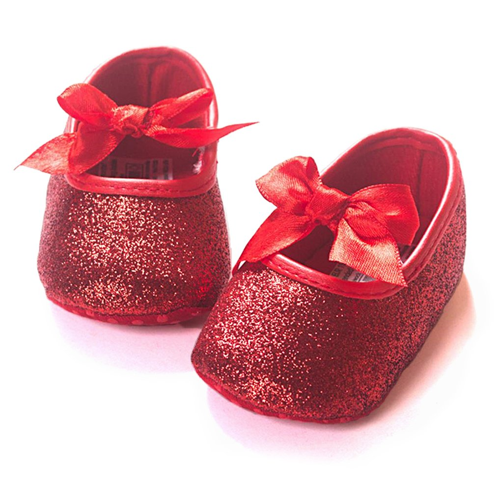 Z-T FUTURE Infant Baby Girls Shoes Cute Bow Diamonds Sparkly Mary Jane Crib Dress Princess Shoes (4.72 inch (6-12 Months), BQB-Red)