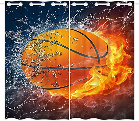 HommomH 42 x 63 inch Curtains 2 Panel Grommet Top Darkening Blackout Room Basketball Fire Cool
