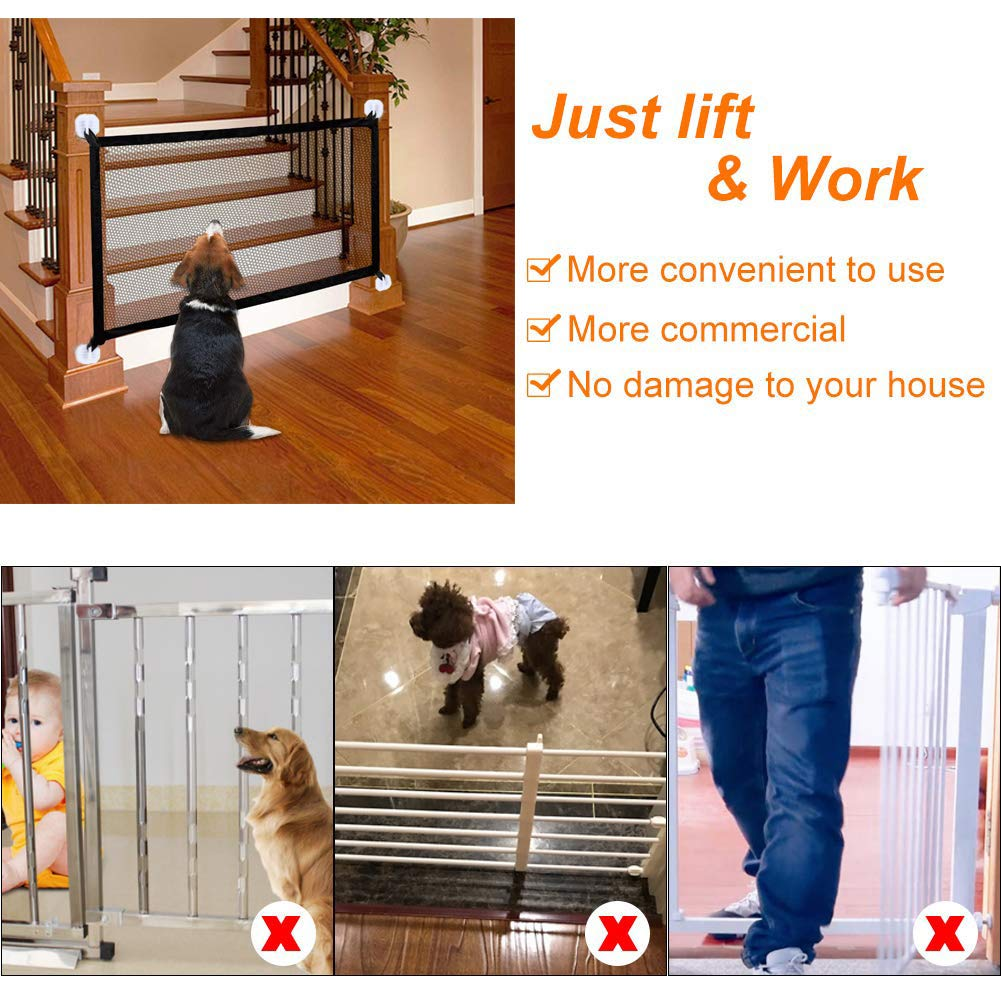 Magic Gate for Dogs Pets Safety Gate Baby Indoor Safety Gates Door Portable Folding Guard Gate Dog Safety Gates Safety Fence Magic Safety Enclosure for Stairs Hall Doorway Wide Tall 70.9in