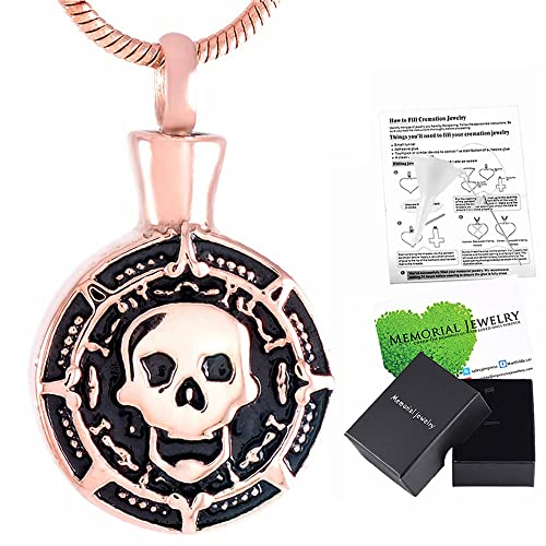 Memorial Jewelry Charm Men Skull Urn Pendant Necklace Cremation