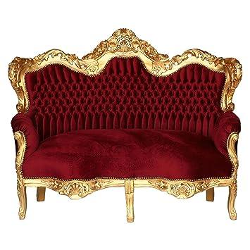 Amazon De Luxus Pur Ug Big Sofa Barock 3 Sitzer Couch Bordeaux Rot