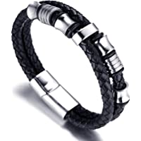 "Halukakah ""SOLO"" Men's Genuine Leather Bracelet with Titanium Beads Silver Titanium Clasp with Magnets 8.46""(21.5cm) with FREE Giftbox"