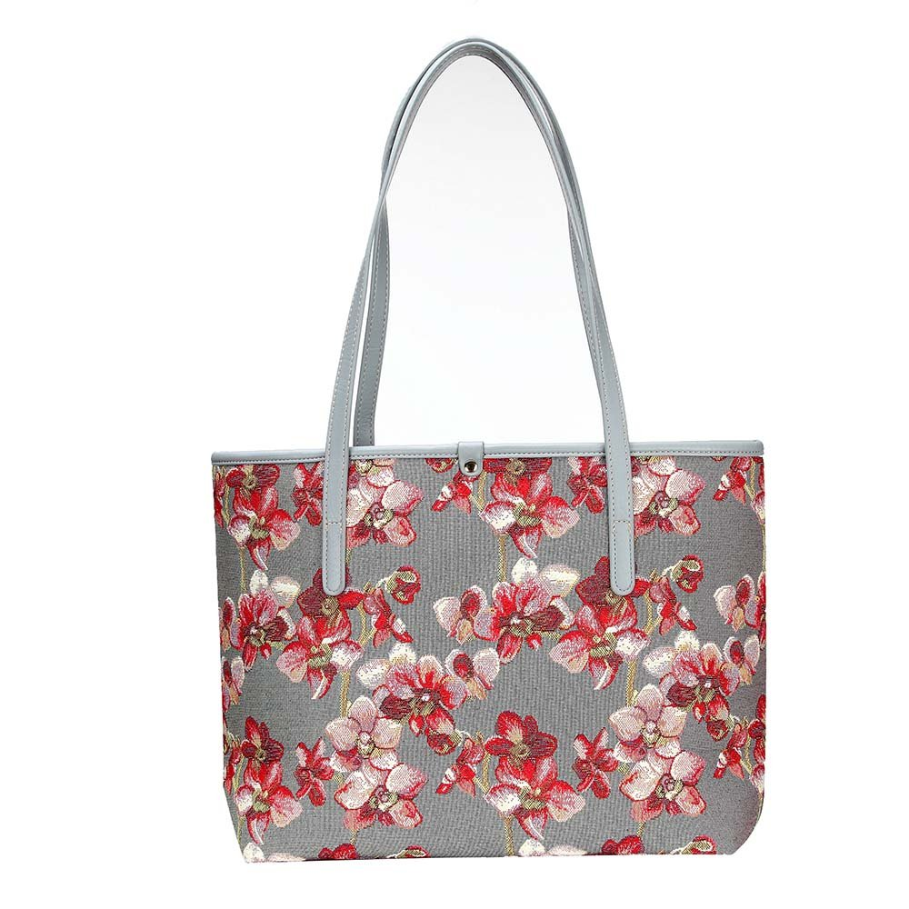 Orchid Grey and Red Shoulder Tote Bag by Signare//Womens Fashion Evening Side Wild Orchid Handbags//COLL-ORC