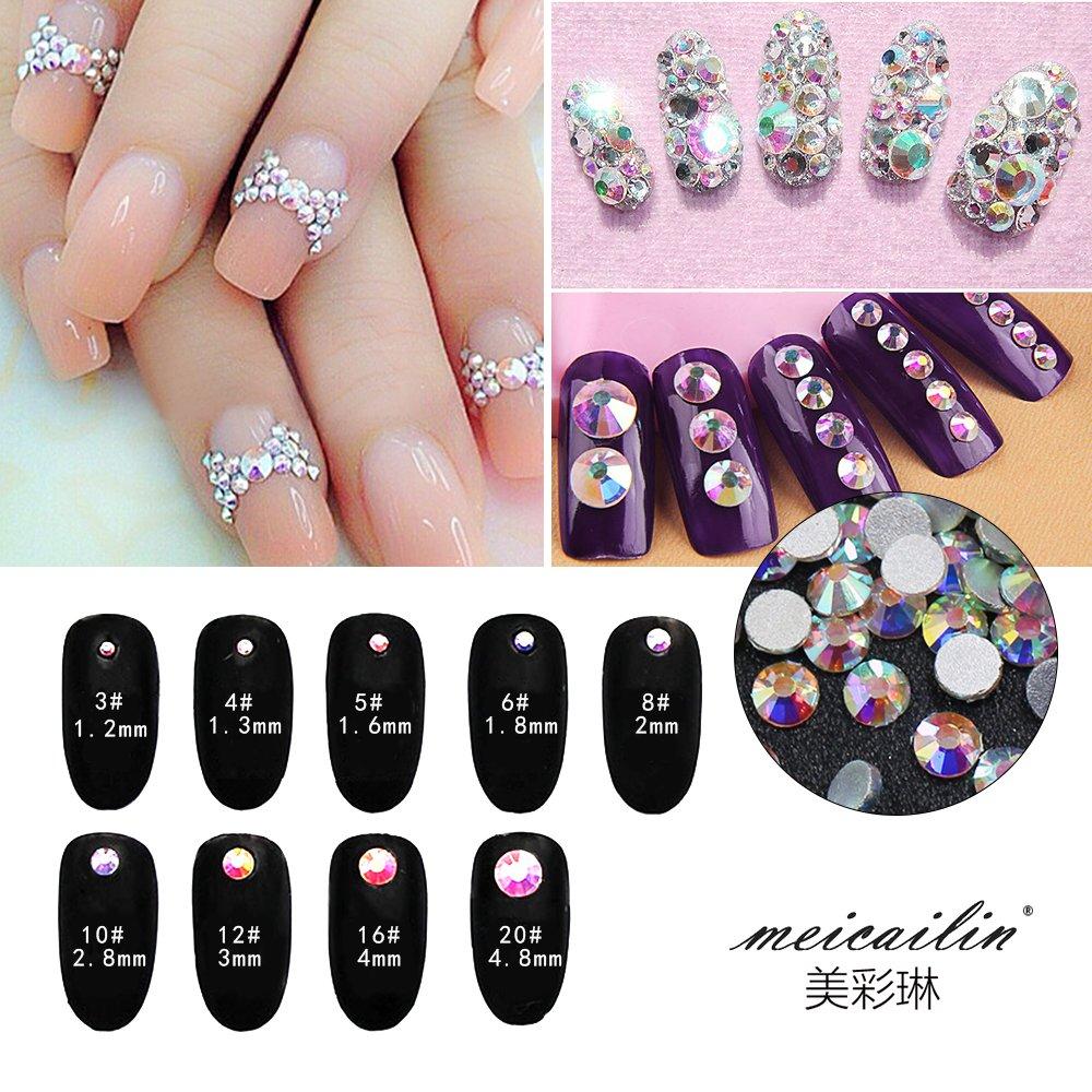 Amazon.com: Nail Art Rhinestone Ab White Crystal 1440pcs/bag Shining ...