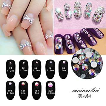 Amazon.com  Nail Art Rhinestone Ab White Crystal 1440pcs bag Shining Non  Hotfix Flatback Rhinestone Decorations for Nails SS3  Beauty 0dc14a501381