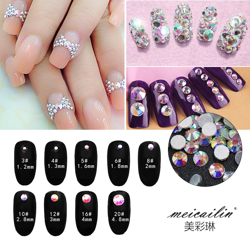 Amazon.com: Nail Art Rhinestone Ab White Crystal 1440pcs/bag Shining ...