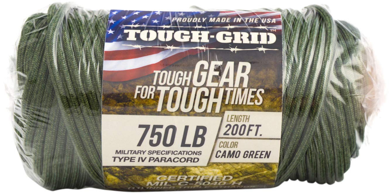 TOUGH-GRID 750lb Camo Green Paracord/Parachute Cord - Genuine Mil Spec Type IV 750lb Paracord Used by The US Military (MIl-C-5040-H) - 100% Nylon - Made in The USA. 50Ft. - Camo Green by TOUGH-GRID (Image #9)