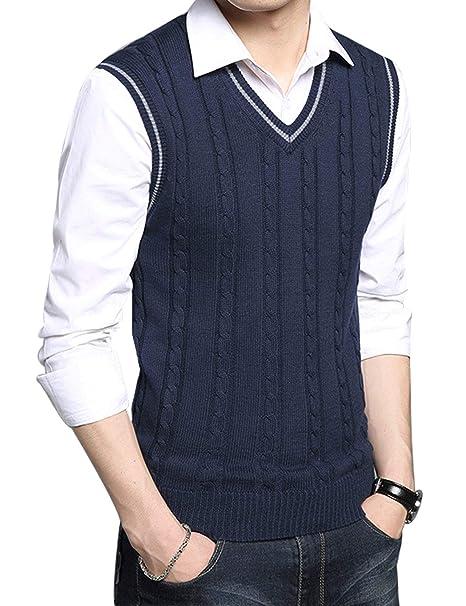 cd2f37fe3025a FEOYA - Chaleco de Punto para Hombre Suéter Jersey sin Mangas de Lana para  Primavera Otoño  Amazon.es  Ropa y accesorios