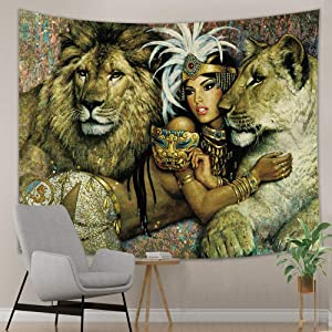 NYMB Will Animals Tapestry, Lion and Girs Safari Theme Tapestry Wall Hanging, Tapestry Wall Art Hanging for Bedroom Living Room Dorm, 71 X 60 inches Wall Blankets Home Decor