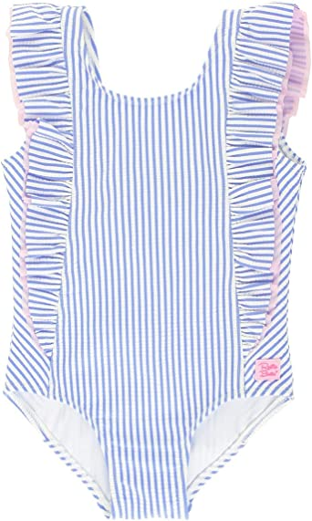 ACSUSS Toddler Girls One Pieces Swimsuit Ruffled One Shoulder Striped Sweetheart Print Swimwear Bathing Suit