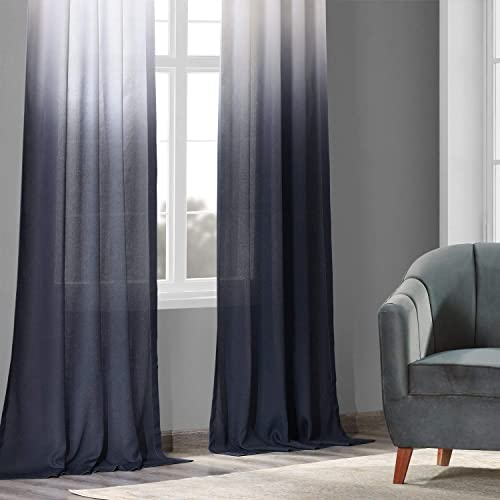 HPD Half Price Drapes FELCH-OMB1707-84 Faux Linen Sheer Curtain 1 Panel