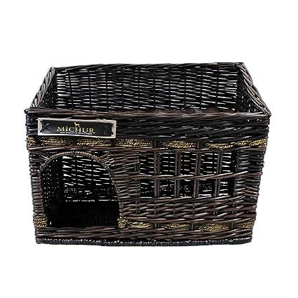 MICHUR JERRY , Cama del perro, cama del gato, cesta del gato, cesta del perro, sauce, cueva, mimbre, marrón: Amazon.es: Hogar