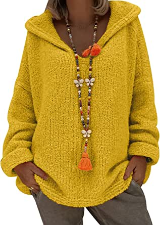 Jersey con Capucha Mujer Gordo Sueter de Punto Manga Larga Jerseys Grueso De Señora Oversize Jerséis Largo Jerseis Chica Sweaters De Mujer Suéter Pullover Tejido Grueso Anchos Amplio Invierno