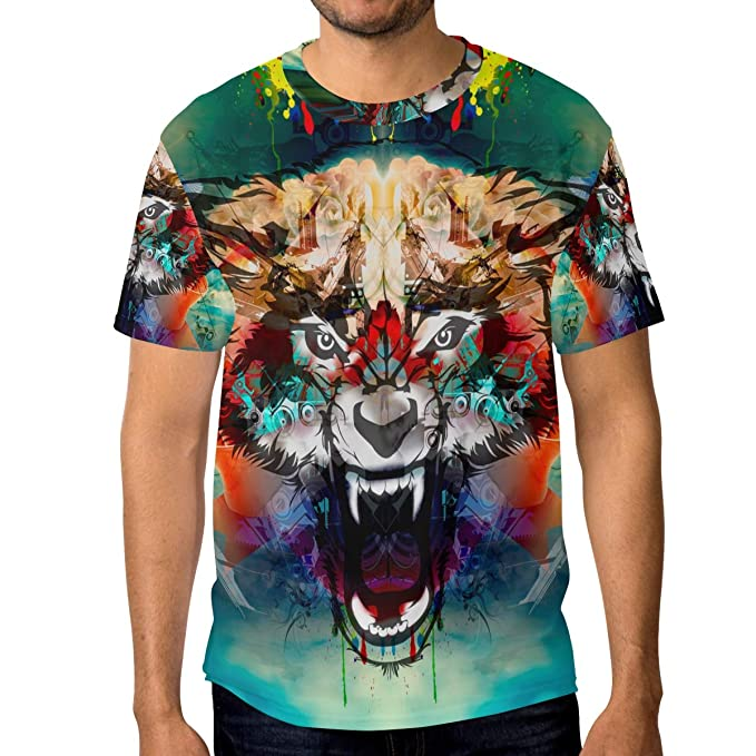 e3d0acac0 Amazon.com: LORVIES Men's Colorful Angry Wolf Head Short Sleeve T ...