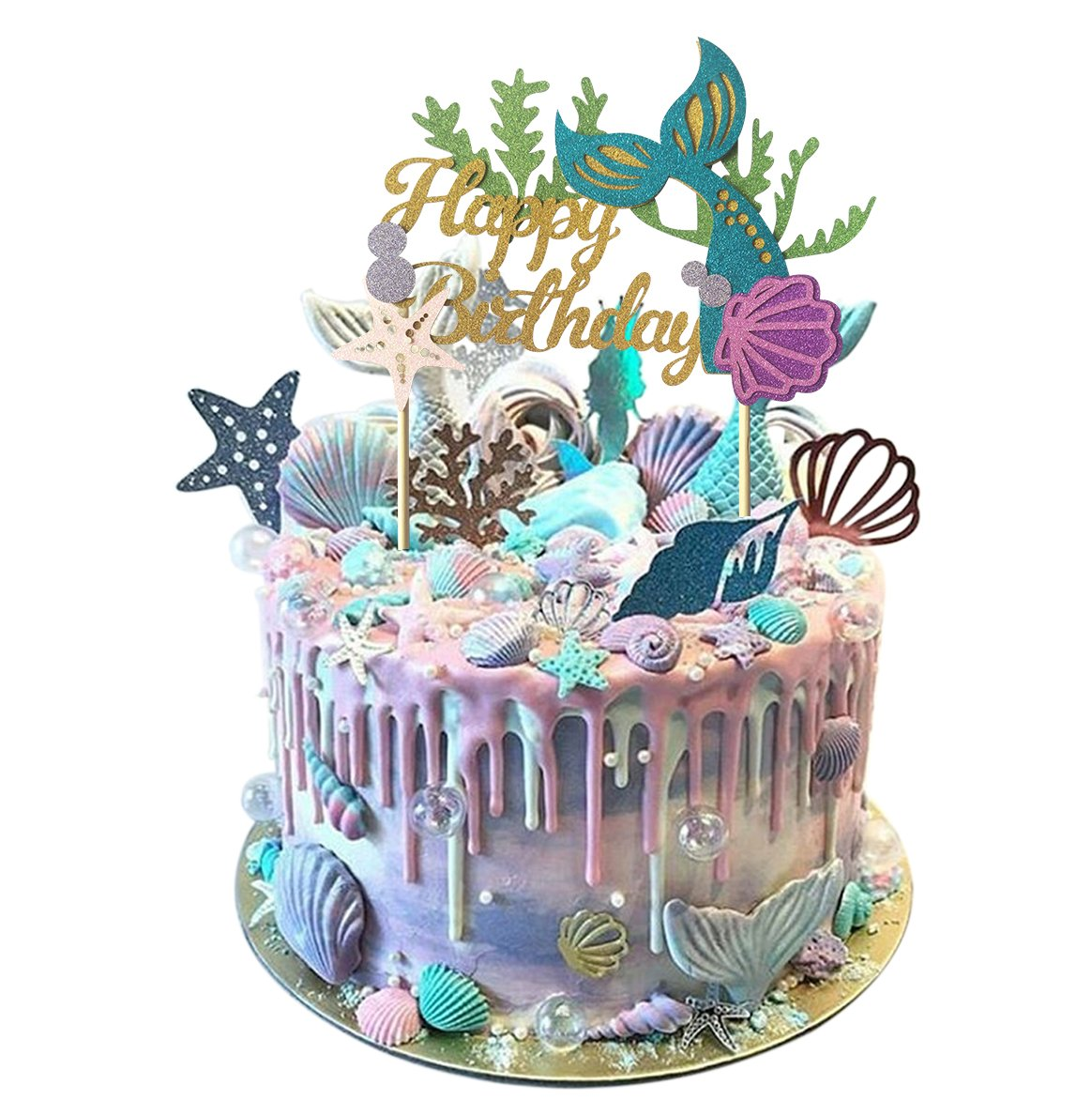 Glitter Mermaid Cake Topper+Pink Glitter Mermaid Tail Hat ,Baby Girl 1st Birthday Party Decoration Maydolbone