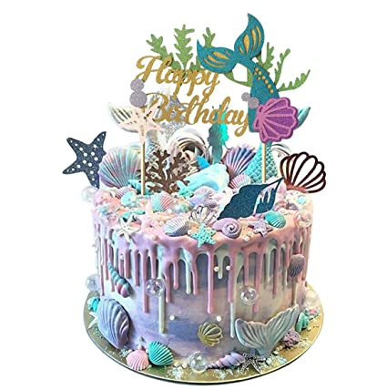 Mermaid Theme Glitter Happy Birthday Cake Topper For Baby Shower Birthday Party Supplies Cake Decoration