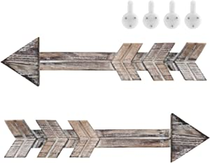 Wooden Arrow Wall Decor , Set of 2 Rustic Arrow Sign Home Decor, Decorative Farmhouse Wall Hanging Decoration for Home Living Room Kitchen Dining Bedroom Bathroom , Unique Gift