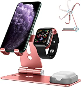 OMOTON Stand for Apple Watch - Cell Phone Stand for Airpods, [Updated Dock Version] Adjustable Charging Stand for Airpods 1/2, Apple Watch 5/4/3/2/1 and 11/11 Pro/11 Pro Max/XR/Xs/Xs Max (Rose Gold)