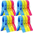 ESFUN 16 Pack Beach Towel Clips Chair Clips Towel Holder for Pool Chairs on Cruise-Jumbo Size,Plastic Clothes Pegs Hanging Cl