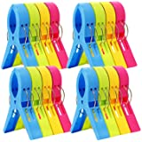 ESFUN 16 Pack Beach Towel Clips Chair Clips Towel Holder for Pool Chairs on Cruise-Jumbo Size,Plastic Clothes Pegs…