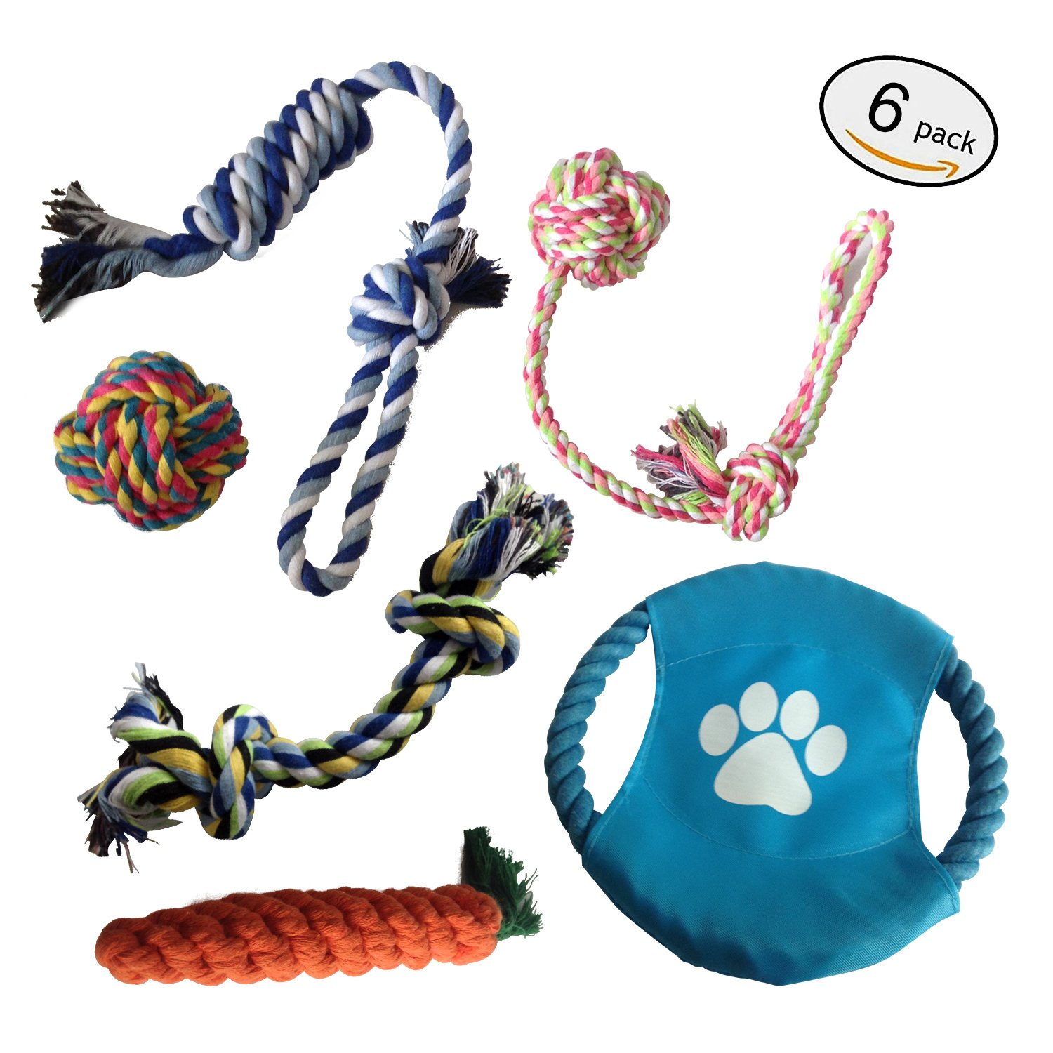 E-sport Durable Dog Chew Toys 6 Pack Interactive Dog Toys