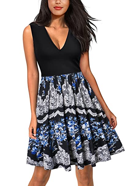 Amazon.com: DILANNI Women Summer Print Beach Dress Plus Size Long ...
