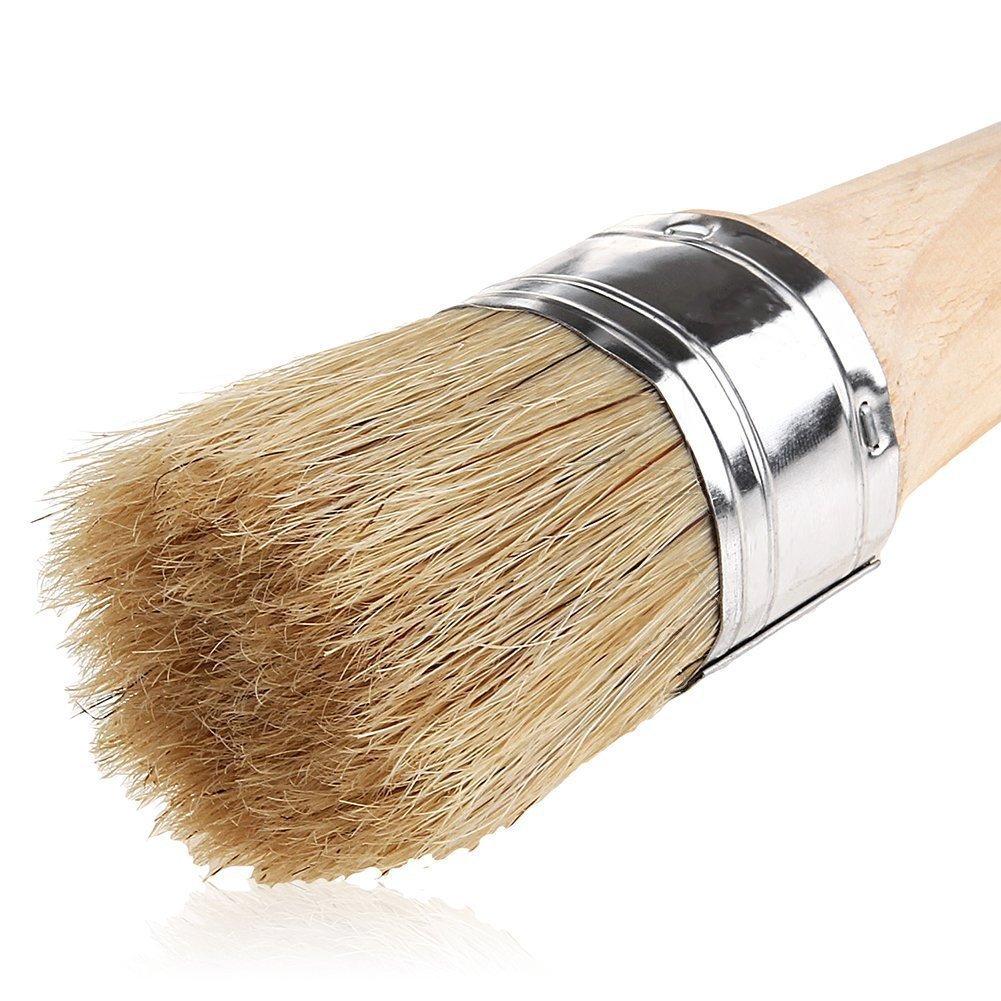 Pincel para pintar y encerar, cerdas naturales de 40 mm, cepillo redondo de cera para pintura de muebles, perfecto para muebles y plantillas de madera, decoració n del hogar decoración del hogar A+Selected
