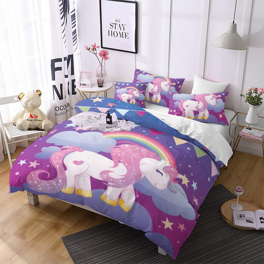 Jessy Home Unicorn Bedding Full for Girls Cartoon 3D Duvet Cover Set 3 Pieces Purple 2 Pillowcase